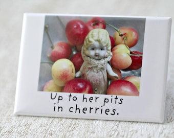 Up To Her Pits in Cherries Vintage Bisque Doll Claudia Fridge Decoration Fruit Magnet (1)