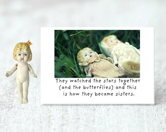 Friendship Magnet Adventures of Claudia Porcelain Doll Art Stars Photography Sisters Friend Gift