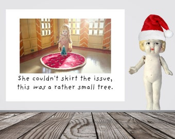 She Couldn't Skirt The Issue Christmas Tree Funny Card Holiday Stationary Adventures of Claudia (1)