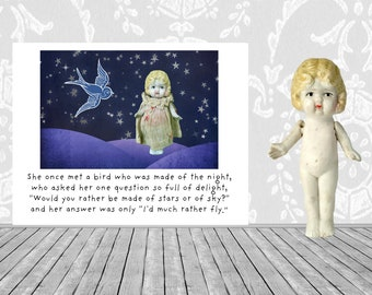 """Collage Art Card """"She Once Met A Bird"""" Bisque Art Doll Stationary Notecard"""