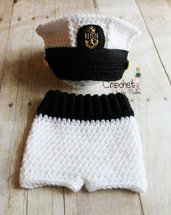 Original Design Crochet Us Navy Baby Hat Usn Newborn Hat Usn Etsy