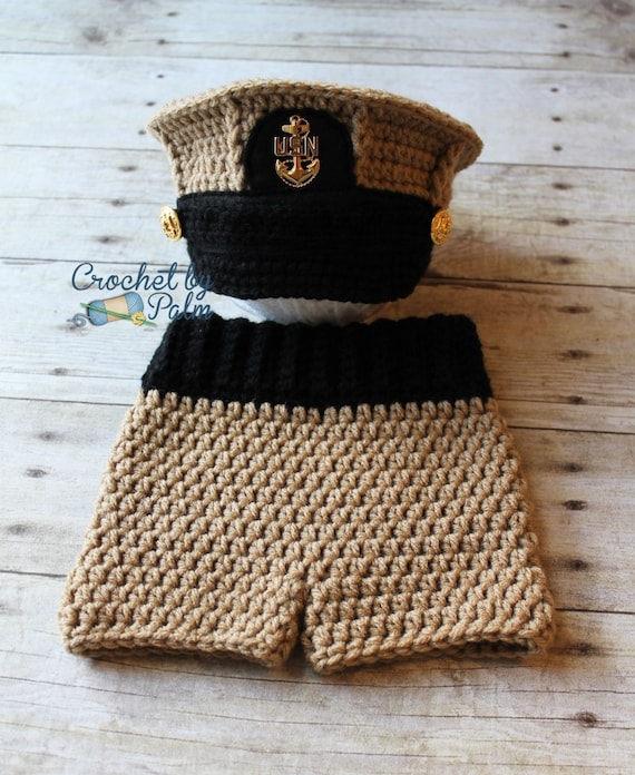 Original Design Crochet Us Navy Chief Hat Baby Pants Set Us Etsy