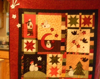 Lovely Applique Winter Snowman Quilted Wall hanging