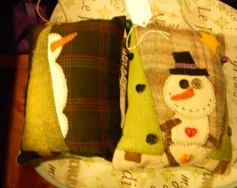 Wool Snowman Pillow/Door Hanger