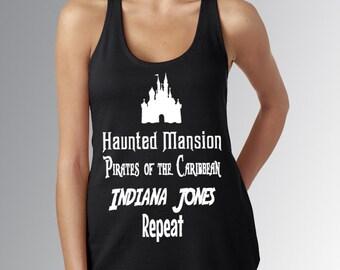 DISNEYLAND RIDES * Sleeping Beauty Castle * Haunted Mansion * Pirates * Indiana Jones * Black Tank Top Jersey Top Running Shirt * Run Disney