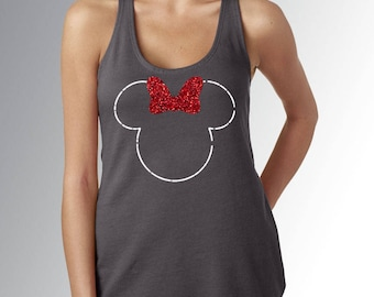 Minnie Mouse Dotted Line Head/Ears/Glitter Bow (NO CASTLE) - Dark Grey