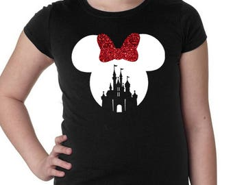 PRE MADE Minnie Mouse Castle * White w/ Red Glitter Bow * Black * Girl's/Kid's/Youth White Disneyland/Disney World Vacation Shirt