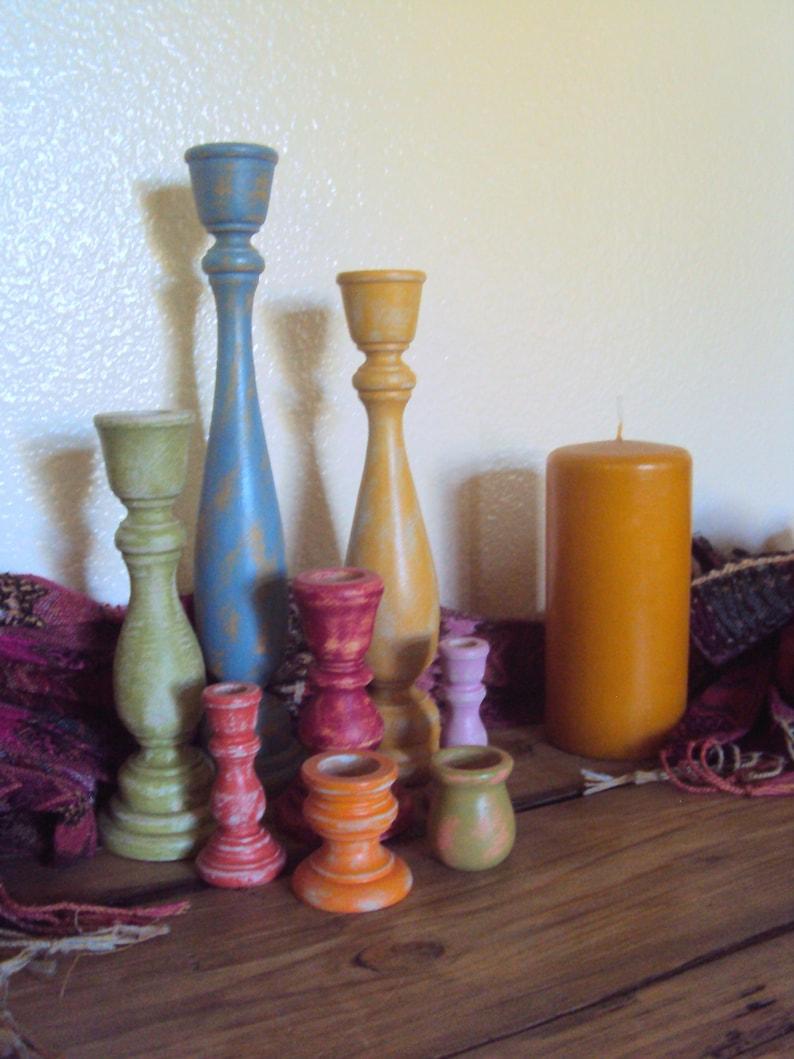 Distressed Bohemian Candlestick Set Boho Bedroom Decor Etsy