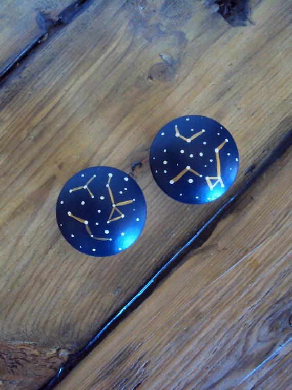 Constellation Knobs Wooden Stargazer, Hand Painted Wood Cabinet Knobs