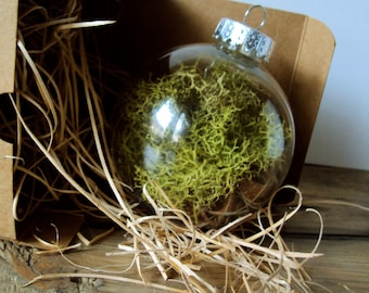 Woodland Moss Ornament - Forest Wedding Decorations - Rustic Christmas Bauble - Hanging Moss Ball - Fairy Flora Orb - Nature Terrarium Decor