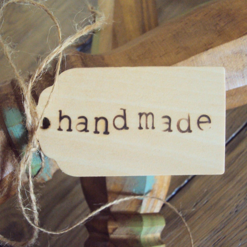 Handmade Gift Tags - Rustic Farmhouse Hang Tags - Boutique Merchandise Tags  - Large Wood Favor Tags - Primitive Gift Packaging - Swing Tags