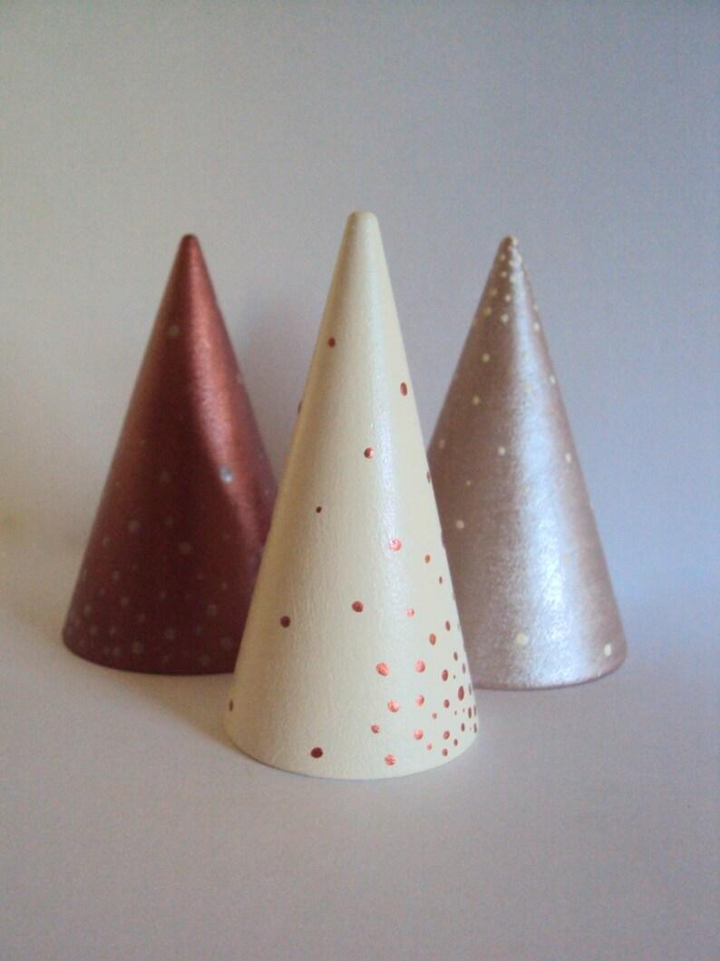 Minimal Holiday Decor Modern Metallic Ring Display Mantel Decorations Miniature Wood Cone Tree Set of 3 Minimalist Ring Cone Holders