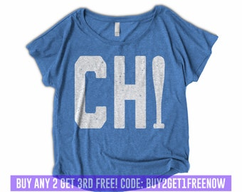 d176e8da1fa Womens Chicago Shirt - Womens Baseball Shirt - Off Shoulder - Dolman -  Vintage Clothing - Chicago shirts For Women