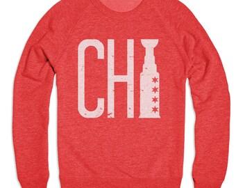 ON SALE, Chicago Blackhawks - Blackhawks Sweatshirt - Crew Neck Sweatshirt - Tri Blend Sweater - Unisex Sizing - All Sizes Available