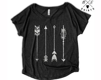 ON SALE, Womens Arrow Shirt - Oversized - Off Shoulder - Dolman - Vintage Clothing - Art - Ladies - Tops and Tees