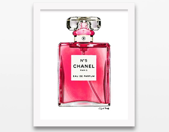 7148af40727 X Inches Coco Chanel No Perfume Bottle Watercolor Pink With ...