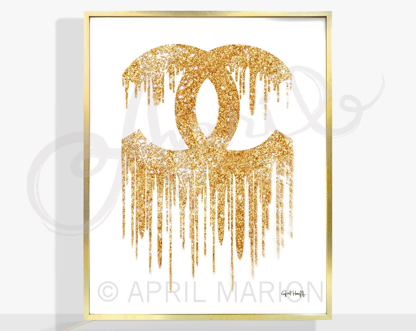 COCO CHANEL Drip Logo Print Fashion Illustration Gold | Etsy