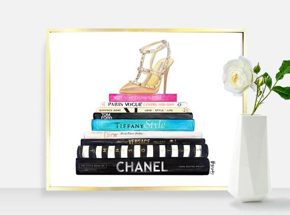 Chanel Books Print Chanel Dior Tiffany Versace Ysl Fashion Illustration Drawing Home Decor Wall Art Valentino Heel Vogue Digital