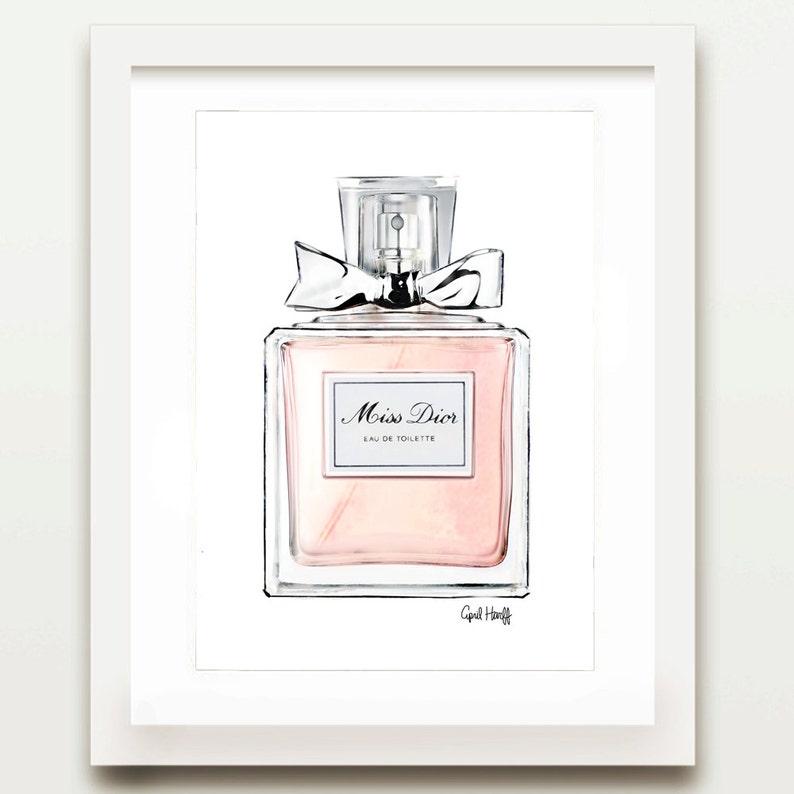 Pink Miss Dior Perfume Print Watercolor Wall Art Fashion Etsy