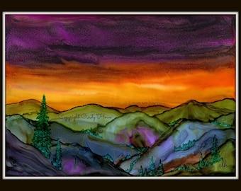 Mountain landscape, Art Print, Original alcohol ink  print,  sunset, landscape, mountains, sunrise, sunset, Blue Ridge Mountains, landscape