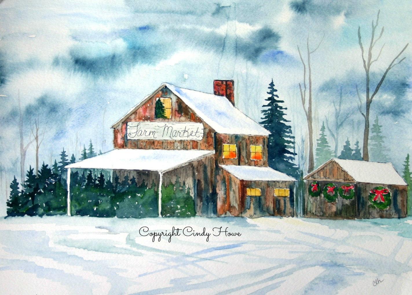 Snowy farm market 3 Greeting cards blank inside farm | Etsy