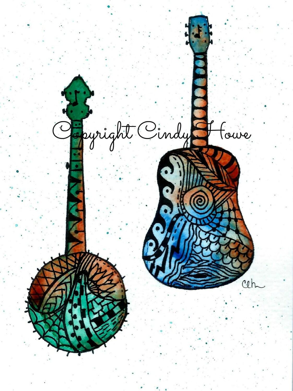 Banjo Guitar Set Of 3 Greeting Cards Bluegrass Blank Etsy