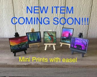 Mini Prints with easel, tiny prints, mini's, art prints, fine art prints