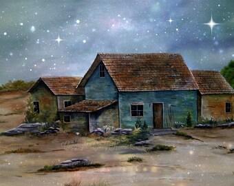 Art Print, Original acrylic print, beach house, beach, sand weathered house, house by the sea, house on beach