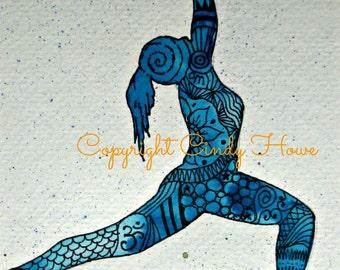 Digital art, digital download,Yoga, Zentangle art, Zentangle, Yoga girl, redhead, yoga pose, Yogi