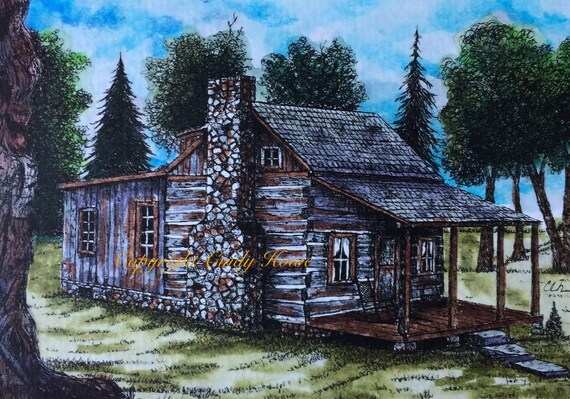 Greeting Cards Old Log Cabin Blank Inside Pen And Ink Etsy