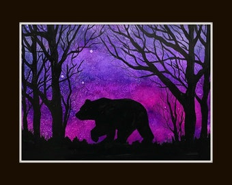 Bear, Black bear, Bear art, alcohol inks, Black bear art, bears