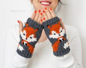 Fox Handwarmer/Fingerless Gloves Crochet Pattern