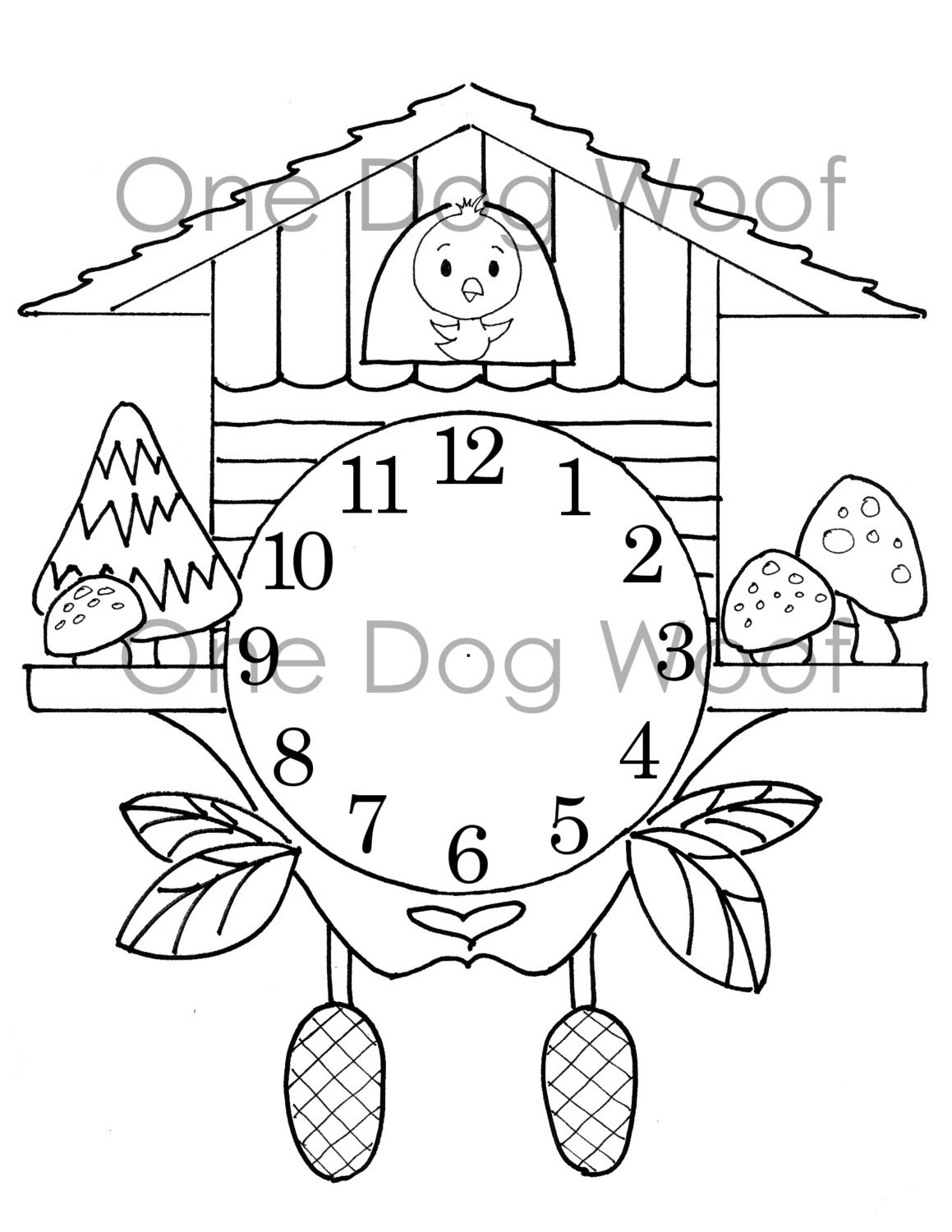 Create Your Own Cuckoo Clock Digital Print Coloring Page ...