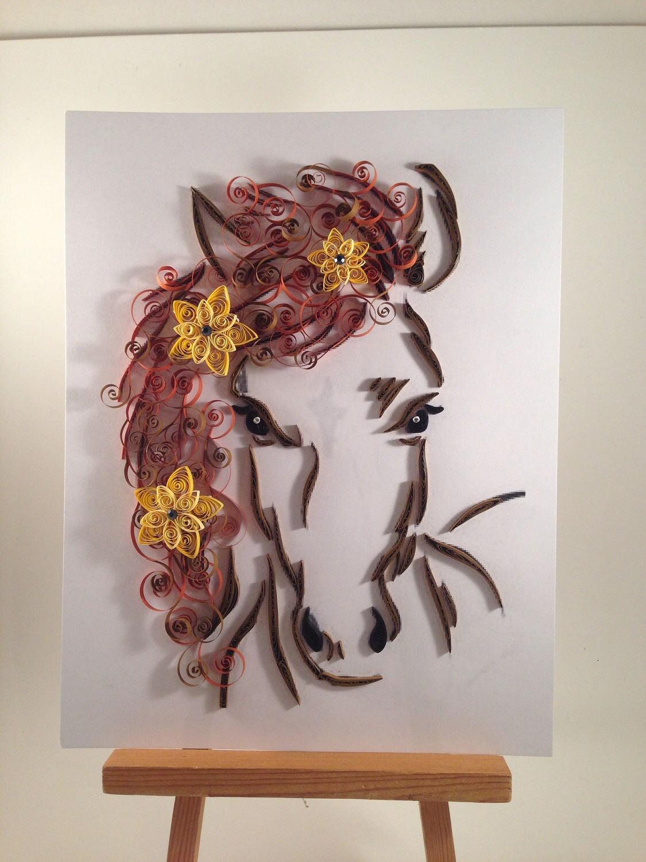 Papier Quilling Pferd und Blumen gerahmte Kunst 11 x 14 | Etsy