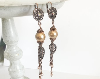 Swarovski pearl and crystal chain earrings