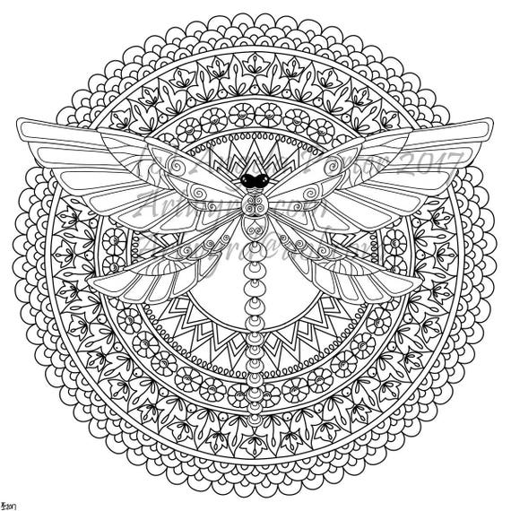 Dragonfly Mandala Colouring Page by Angela Porter Etsy