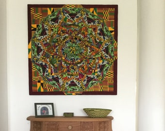 African Patchwork wall art, handmade with authentic African textiles, called 'Green Birds' after the African print 'Speed Birds'.