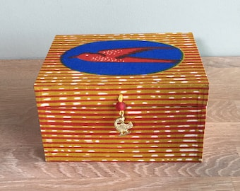 Storage box, handmade, with authentic Ghanian textile