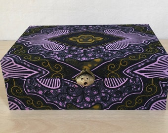 Handmade Tea Box with a modern African print in purple and green, with 6 compartments