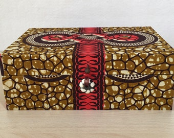 Handmade Tea Box in brown and soft-red coloured African print, with 6 compartments