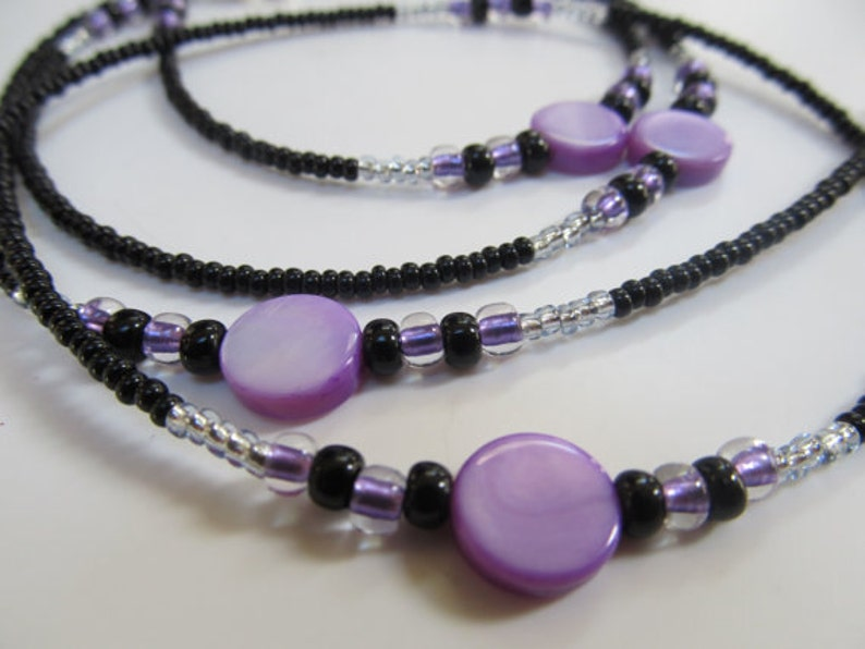 Purple Rain Sterling Silver Clasp Purple Mother of Pearl Shell and Black Single Strand Waist Beads High Quality Beading Wire
