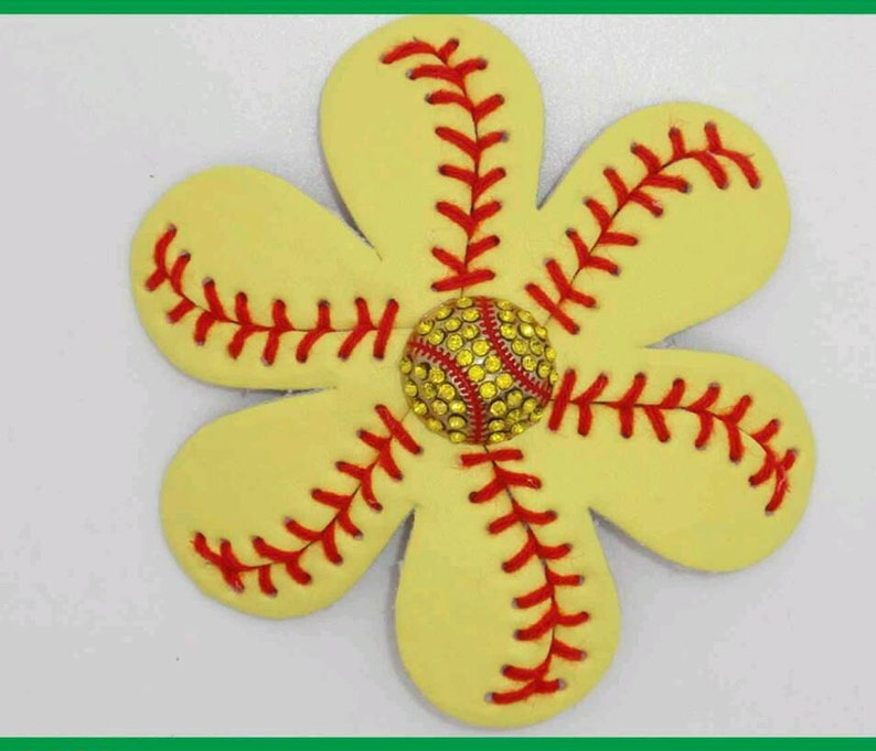 17c58e9ca100 Authentic Leather Softball Stitch Flower Clip Pair Perfect