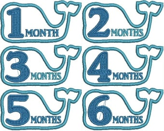 Whale Watch Me Grow/ Month by Month Embroidery Files- Instant Download!