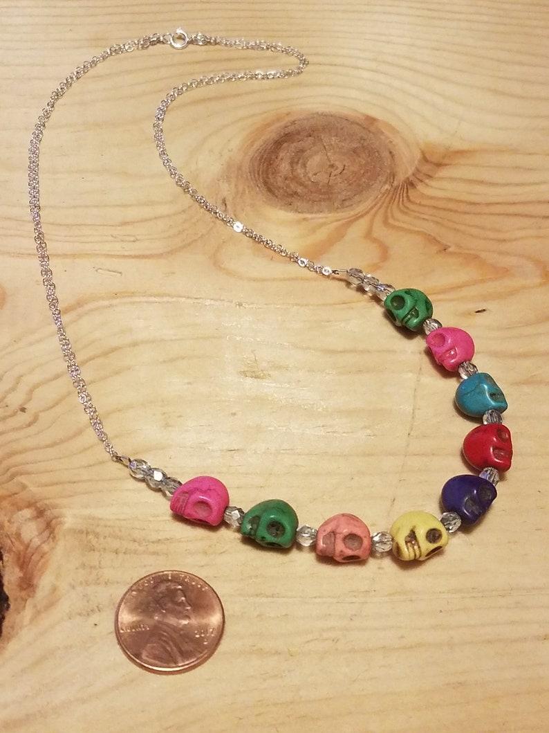 Small Rainbow Howlite Skull Necklace