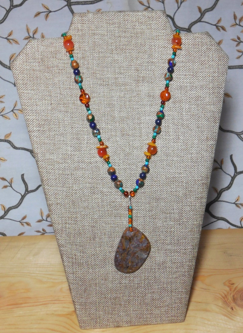 Amber Chalcedony Pendant Chalcedony Medallion Necklace Carnelian Mosaic Bead Sterling Silver Spirit In The Stone Lapis Turquoise