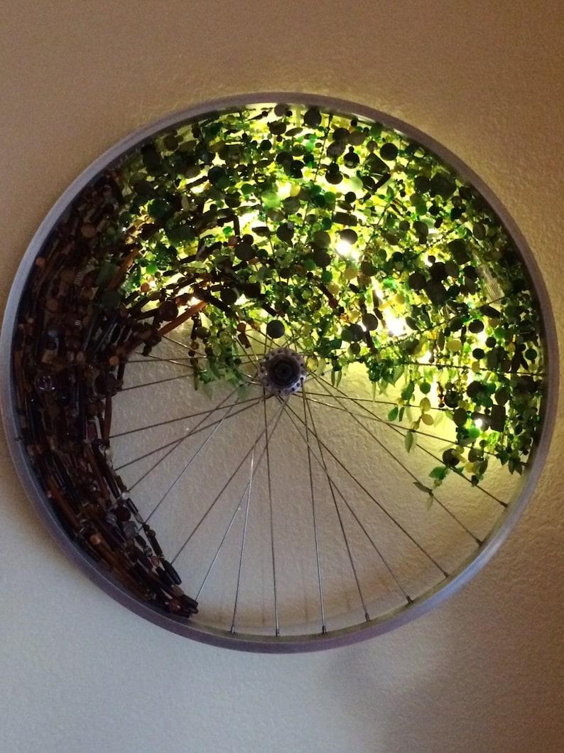 Bicycle Wheel Tree Art recycled bike art bicycle art light image 0