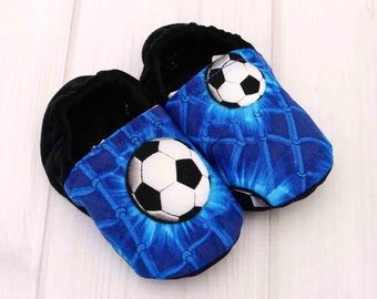 ba13842eb389 6-12 Months Soccer Baby Boy Moccasins Shoes - Toddler Walking Shoes - Boys  Booties Slippers - Soft Sole Crib Shoes