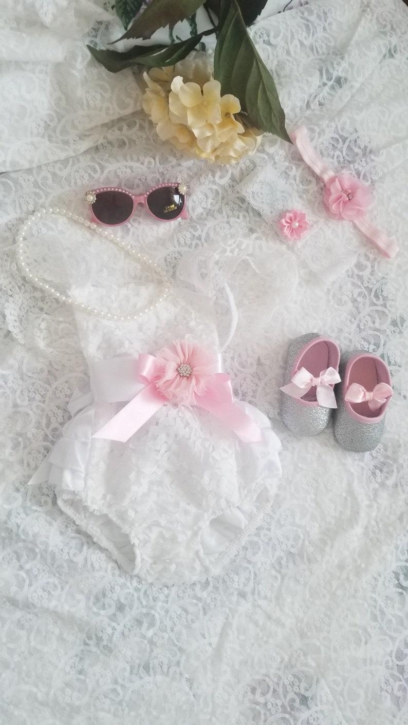 05c1d676c6b Summer Boho Chic White Lace Romper w Blush Sash   Headband.