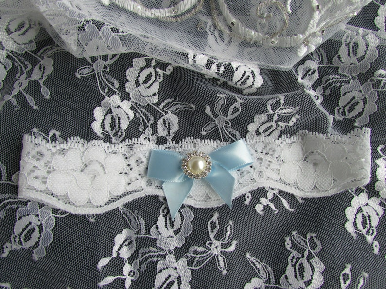 Bridal Garter Toss Garter Wedding Garter WHITE Lace Garter with Satin Bow and Pearl  Style #KGA0056