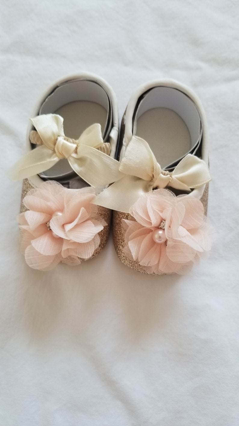 e45b2c613f50c SALE Girls Gold shoes, With chiffon pearl flowers